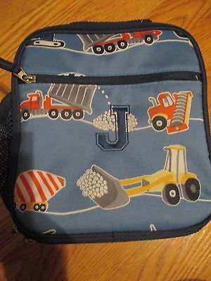 BOY POTTERY BARN KIDS CONSTRUCTION LUNCH BAG BOX Initial *J*