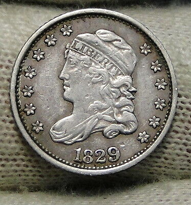 1829 Capped Bust Half Dime H10C 5 Cents - Nice Old Coin, Free Shipping  (6318)