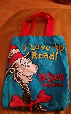 """Dr. Seuss The Cat In The Hat Cloth Tote Bag I Love to Read! 10""""x12"""""""
