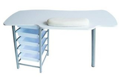 1X New White Manicure Table with 5 Layer Drawers