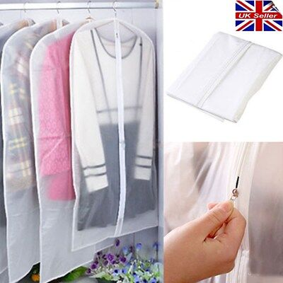 UK # 2pcs Clear Garment Dress Suit Clothes Coat Cover Protector Travel Zip Bag