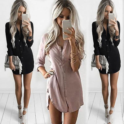 AU Womens Plain Shirt Dress Casual Long Sleeve Chiffon Loose T Shirt Blouse New