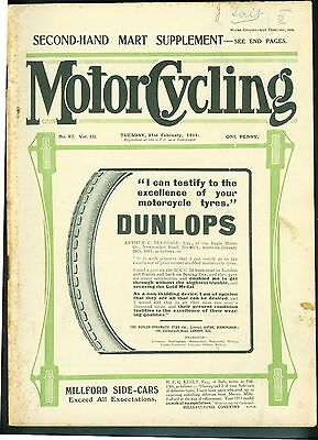 Vintage Motor Cycling Magazine 1911 two stroke Levis Clutch or Variable Gear?