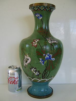 Very Large Exceptional Quality Chinese Cloisonne Vase - Amazing Piece Very Rare