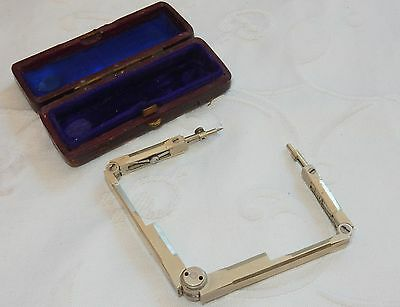 19c ANTIQUE FOLDING DRAFTING DRAWING CALIPER COMPASS DIVIDER TOOL + FITTED CASE