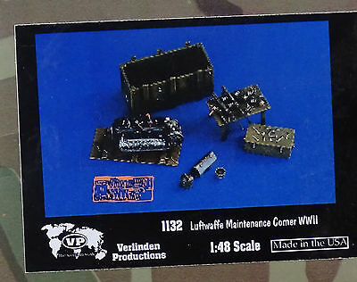 VERLINDEN PRODUCTIONS 1132 WWII Luftwaffe Maintenance Corner w/Tools in 1:48