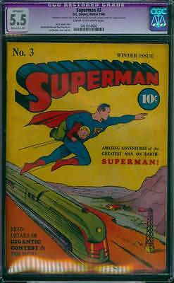 Superman # 3  Classic Cover ; stories reps Action # 5,6 ! CGC 5.5  scarce book !