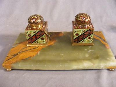 """Fine Antique French Onyx & Champleve 12"""" Double Inkstand - 2 Enamel Inkwells"""