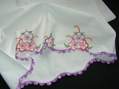 B'ful Btg Richly Hand Embroidered Anenome & Spring Flower Lace Edged Pillow Case