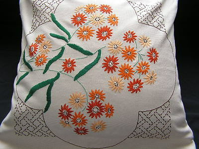 B'ful Vtg 1930's/40's Richly Hand Embroidered Multi Daisy Cotton Cushion Cover