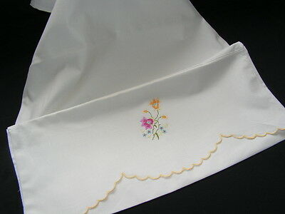 Lovely Vintage Hand Embroidered Flower Horrocks Quality White Cotton Pillow Case