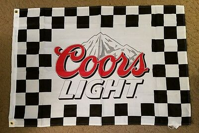 "Coors Light Beer Checkered Flag Banner NASCAR 28"" x 40"""