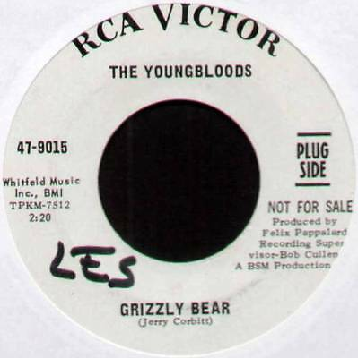 "Youngbloods ~ Grizzly Bear / Tears Are Falling ~ 1966 Us ""promo"" 7"" Single"