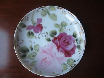 Vintage Japan  Hand Painted Roses Saucer Plate