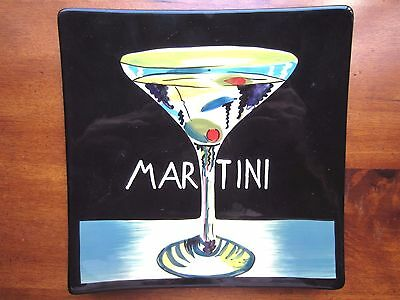 """Mary Naylor Martini Art Hanging Plate, hand painted, 9.5"""" by 9.5"""" square"""