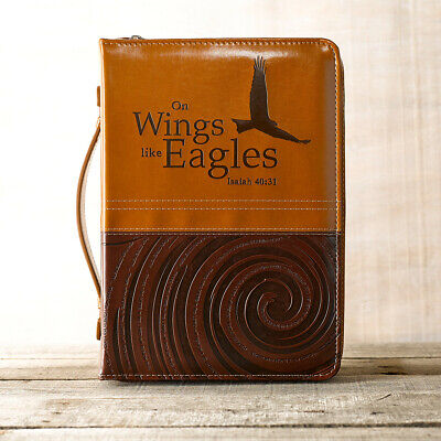 """Bible Cover NEW """"On Wings Like Eagles"""" Medium Two-Toned Brown/Tan Faux Leather"""