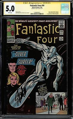 Fantastic Four #50 Cgc 5.0 White Pages Ss Stan Lee Signed Cgc #1508459010
