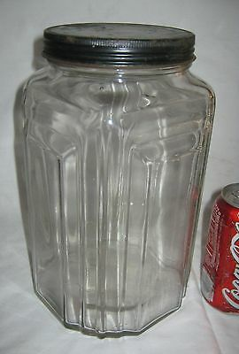 # 2 Antique Usa Art Deco Country Primitive Hoosier Necco Candy Glass Jar Bottle