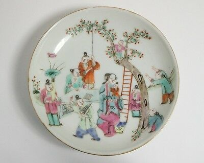 Antique Chinese Famille Rose Cherry Pickers porcelain saucer