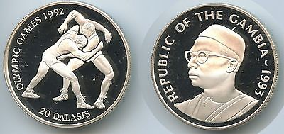 GS633 - Gambia 20 Dalasis 1993 KM#33 Olympia 1992 Wrestling Silber Proof.