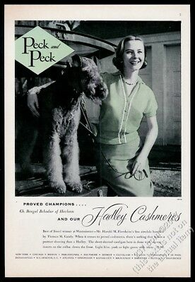 1955 Airedale terrier champion dog photo Peck and Peck vintage print ad