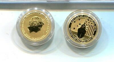 Australia 2014 $15 1/10 Ounce Battle Of The Coral Sea Gold Coin Bu