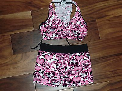 NWOT Girls Trendy Trends Dancewear Dance Top Shorts Outfit Set Sz Youth M L 8 10