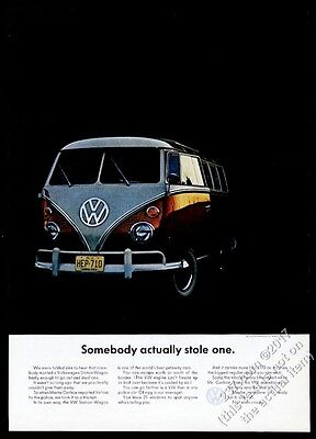 1964 VW Bus color photo Somebody Actually Stole One Volkswagen 11x8 print ad
