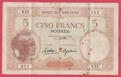 C.a.1926 New Caledonia 5 Franc Note