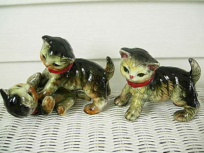 Vintage Two Porcelain Tabby Cat Figurines Red Collars