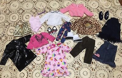"""Huge Lot Of 18"""" Doll Clothes Outfits Sets Shirts Skirt Shoes Pj And Accessories"""