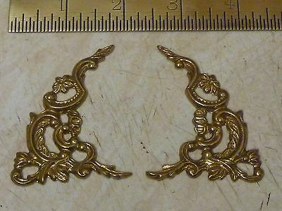 New Old Stock Pair Of Bracket Clock Cast Brass Arch Spandrels (Bcs)