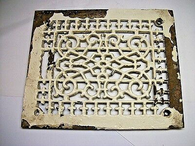 Vintage Ornate Rectangle Cast Iron Floor Air Grate Heat Register Vent