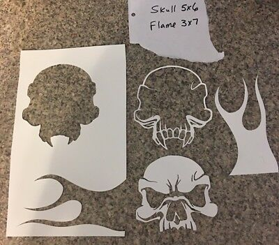 Skull And Flame 4 Pc Mylar Reusable Airbrush Stencil Hot Rat Rod Tattoo By Krô