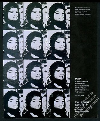 2005 Jacqueline Jackie Kennedy art by Andy Warhol NYC gallery vintage print ad