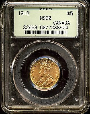 Canada 1912 G$5 George V Gold Five Dollar MS60 PCGS 7388604