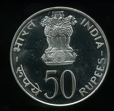 India 1974 50 Rupees Proof Silver - Planned Families Food for All