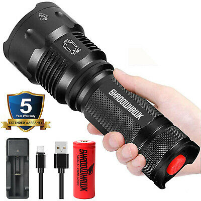 Super-bright LED Flashlight 20000LM USB Rechargeable Shadowhawk Tactical Torch