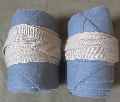 Wwi France French Horizon Blue Wool Puttees Boots Wraps-Xl