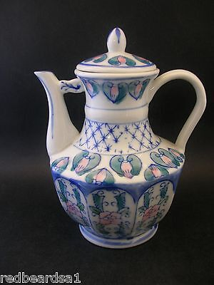 Miniature Pottery Ceramic Coffee Pot Oriental Decorative Floral Blue Pink 15cm