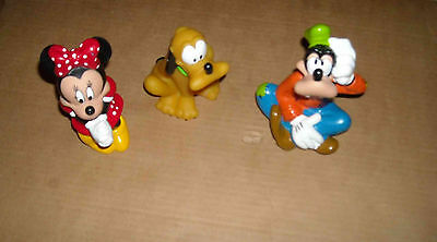 3 Figurines Pluto Minnie Et Dingo Pour Le Bain Disney