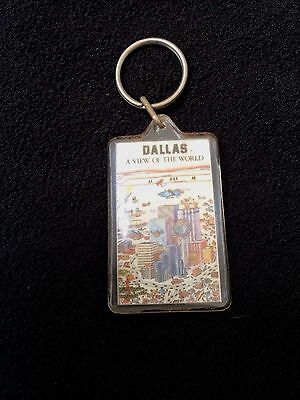 VINTAGE Dallas Texas CITY SCENE VIEW Novelty Key Chain Ring Fob FREE SHIPPING
