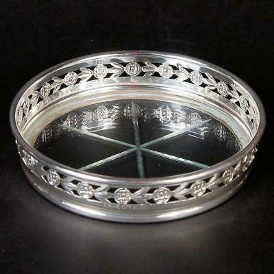 Set Of 3 Birks Sterling Coasters With Glass Bottom