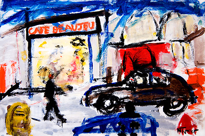 PARIS CAFE Original Painting Modern French Expressionist Art by Neal Turner NR