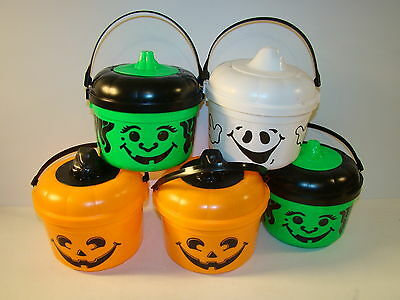 Lot Of 5 1991 Mcdonalds Happy Meal Halloween Trick Or Treat Buckets / Pails