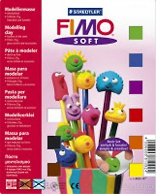 Fimo Soft Polymer Clay Basic Starter Kit Modelling Set 9 X 25g Blocks and Tools
