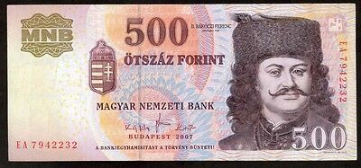 Hungary 500 Forint 2007 Note !!!! Xf-Au
