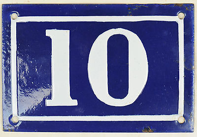 Old blue French house number 10 door gate plate plaque enamel metal sign c1950