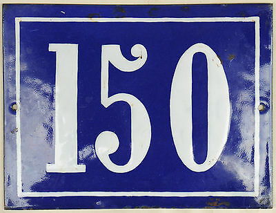Large old French house number 150 door gate plate plaque enamel steel metal sign