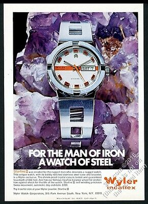 1971 Wyler Incaflex Starfire II watch color photo vintage print ad
